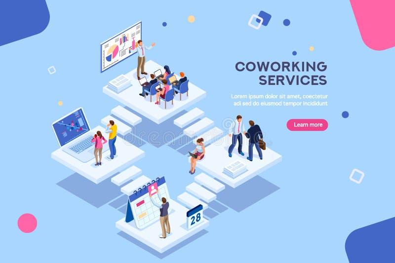 与字符自由职业者Coworking的办公室概念 向量例证