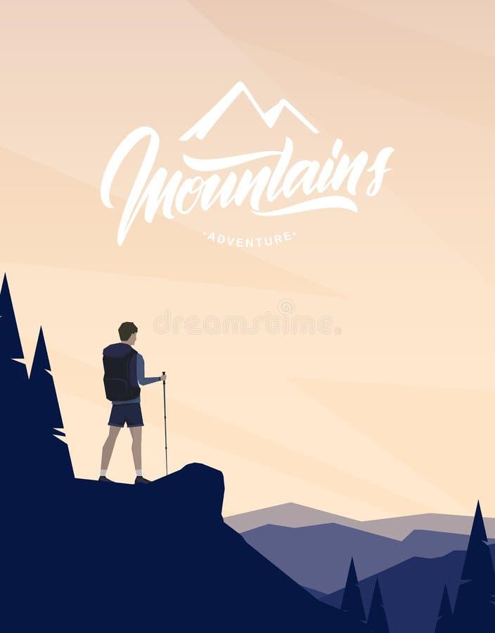 与字符远足者的动画片平的风景前景和山手写的字法的  向量例证
