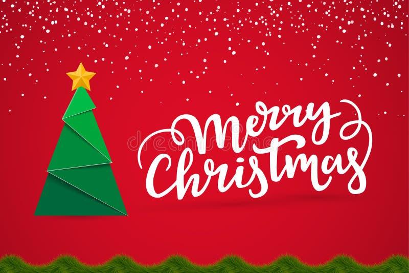 与季节愿望的圣诞快乐印刷欢乐卡片设计 与新年树的Xmas明信片,在类型上写字,具球果 库存例证