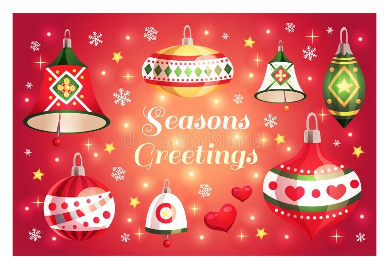 与季节问候的圣诞快乐和新年快乐卡片发短信和装饰元素 皇族释放例证