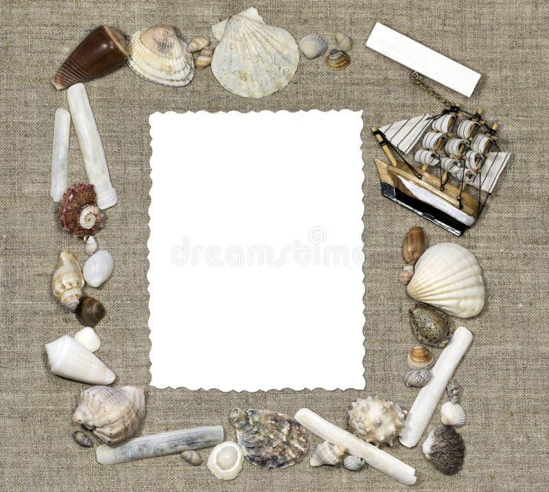 与孤立卡片的海洋框架 免版税库存照片