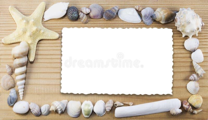 与孤立卡片的海洋框架 图库摄影