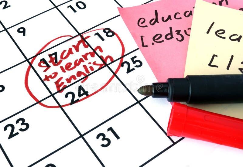 与学会英语的开始的日历 免版税图库摄影