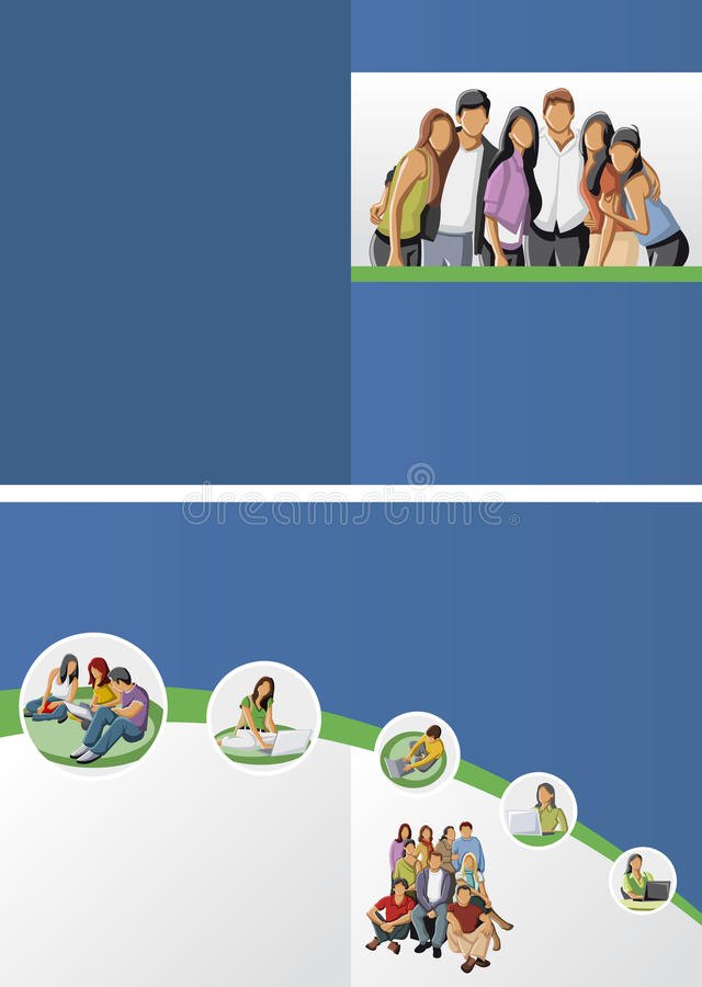 与学员的五颜六色的模板 向量例证
