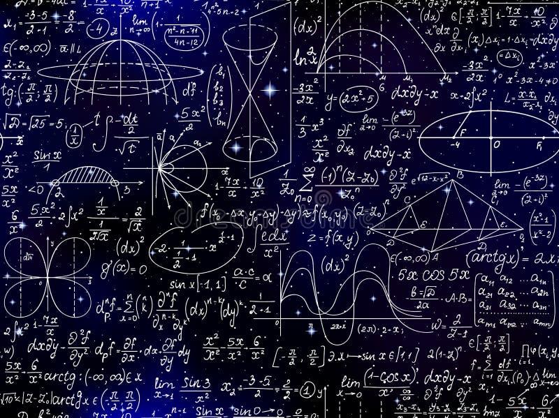 与学校代数和几何惯例、图和演算的算术科学传染媒介无缝的样式 向量例证