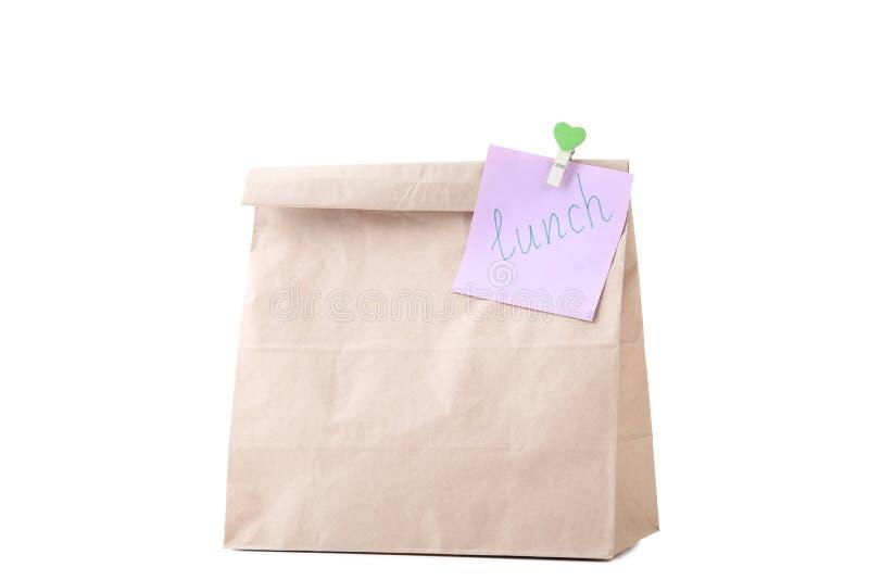 与学校午餐的纸袋 免版税图库摄影