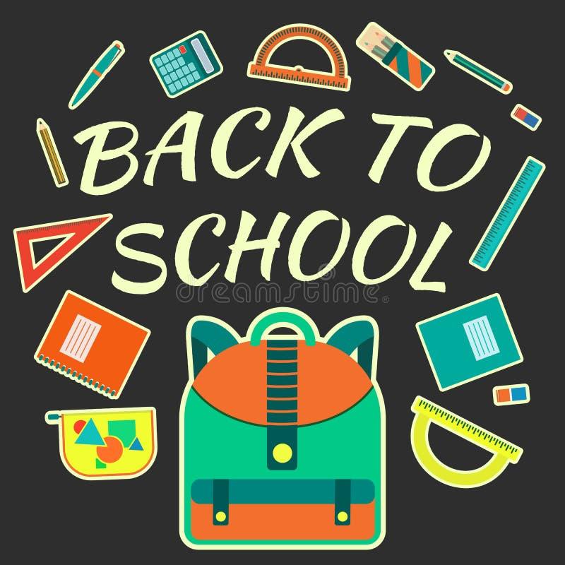 与学校工具的平的五颜六色的传染媒介海报有回到在黑暗的背景的学校课文的 向量例证