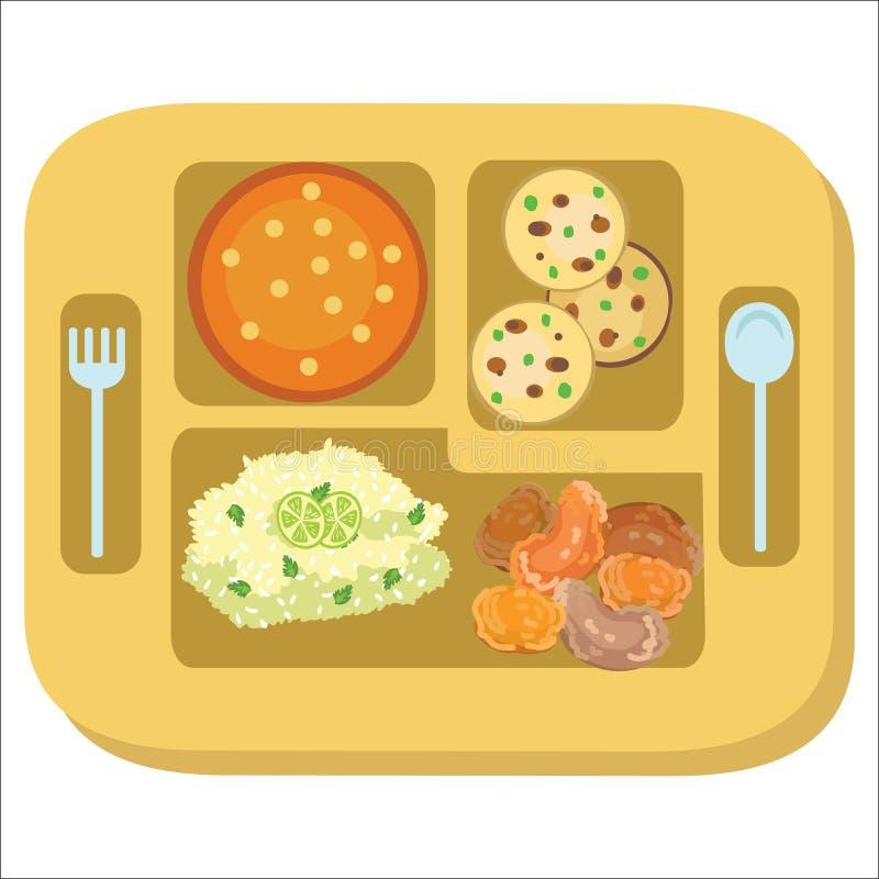 与学校晚餐的午餐盘子五颜六色的海报盘子 皇族释放例证