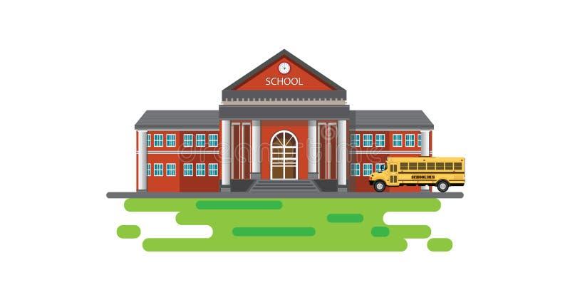 与学校班车的现代教学楼 库存例证