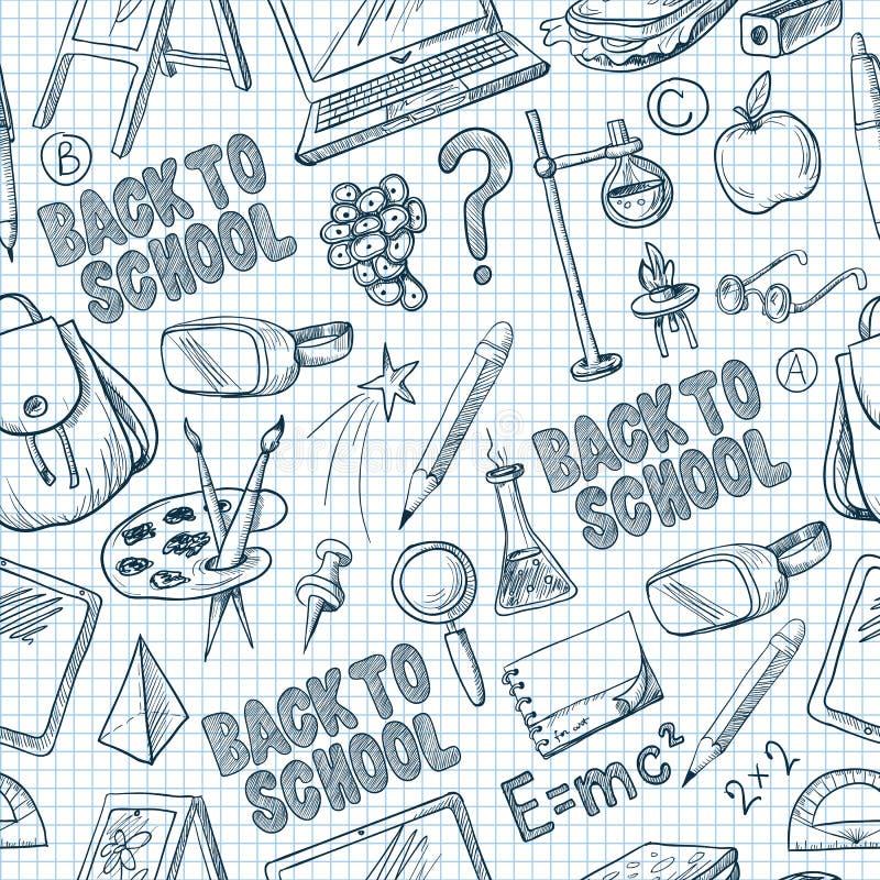 与学校用品的无缝的样式,例如背包、书、膝上型计算机,地球和其他,在笔记本的被画的笔 向量 皇族释放例证