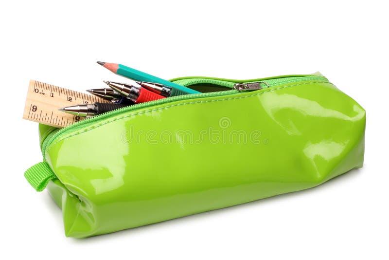 与学校用品的笔匣 库存照片