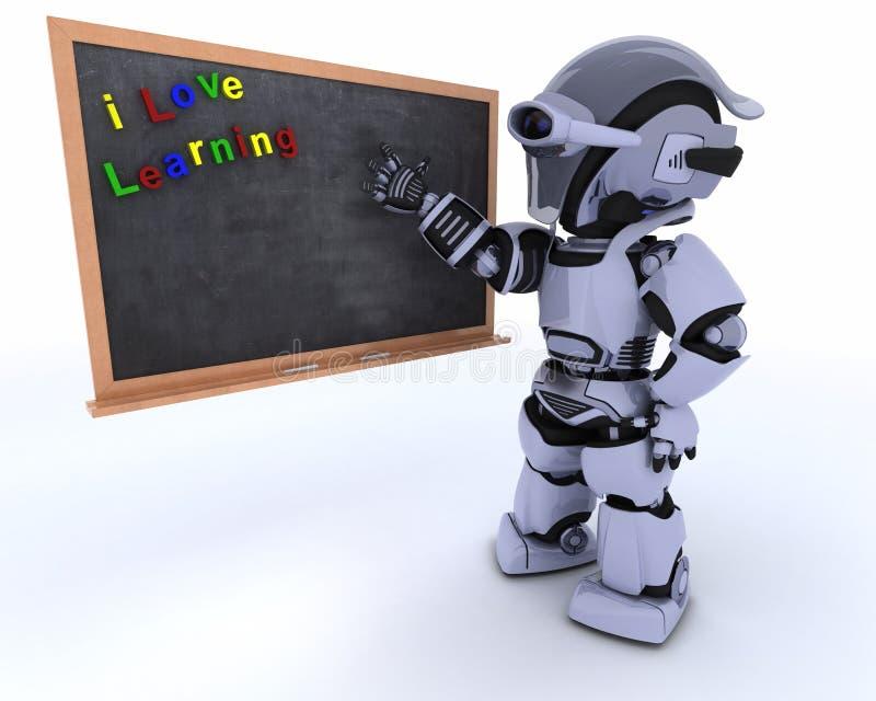 与学校粉笔板的机器人 皇族释放例证