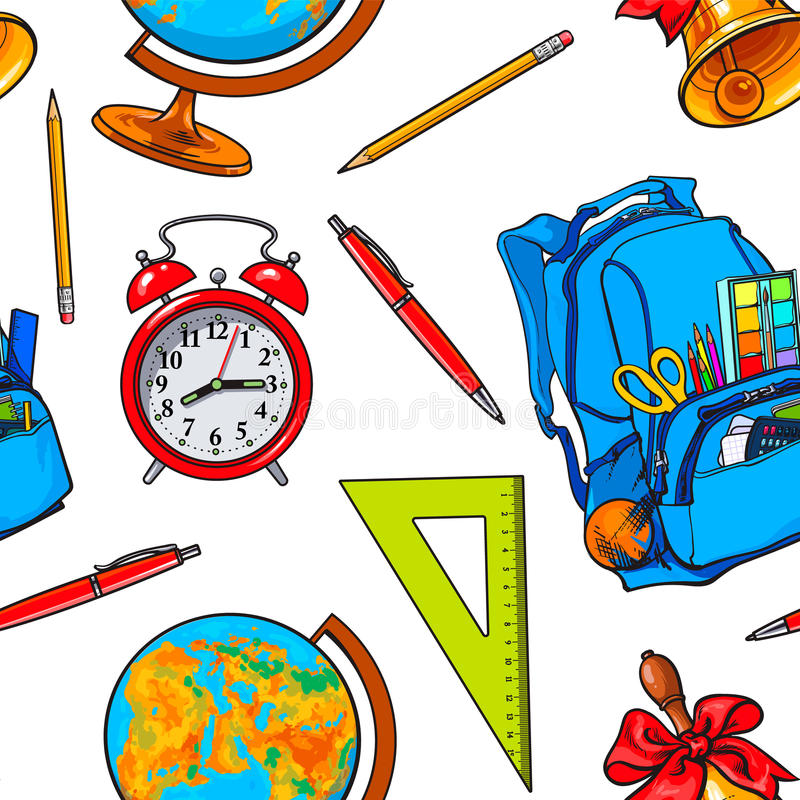 与学校项目的无缝的样式,背包,地球,响铃,时钟 库存例证