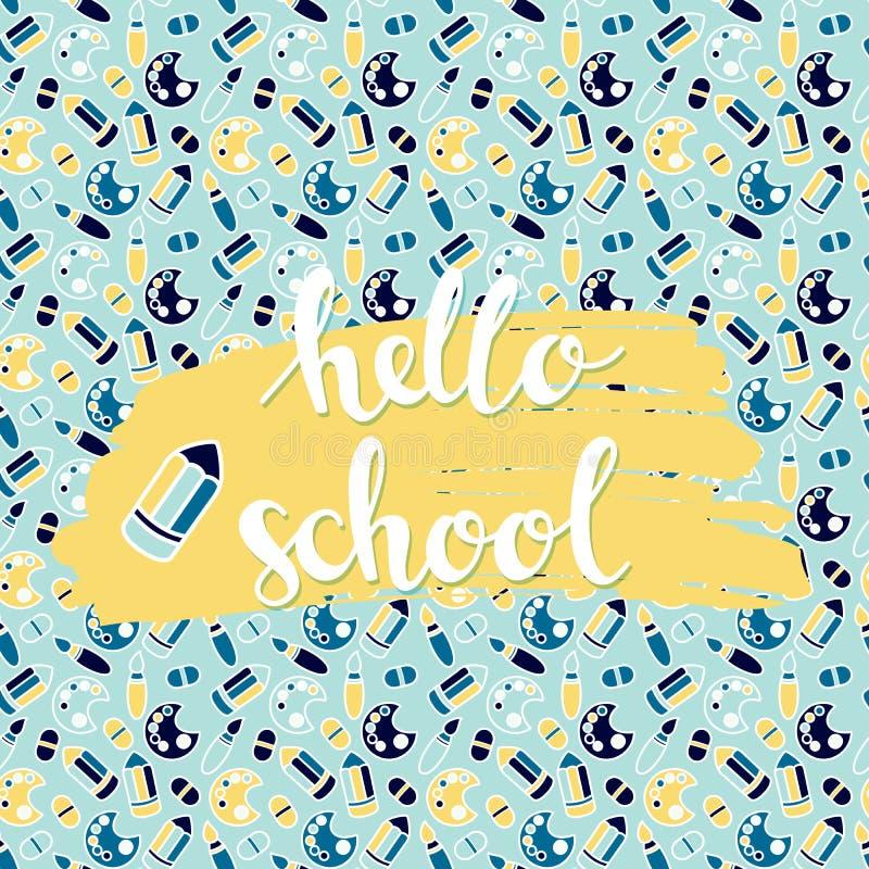 与学校sealess样式的背景与手拉的词你好学校 库存例证