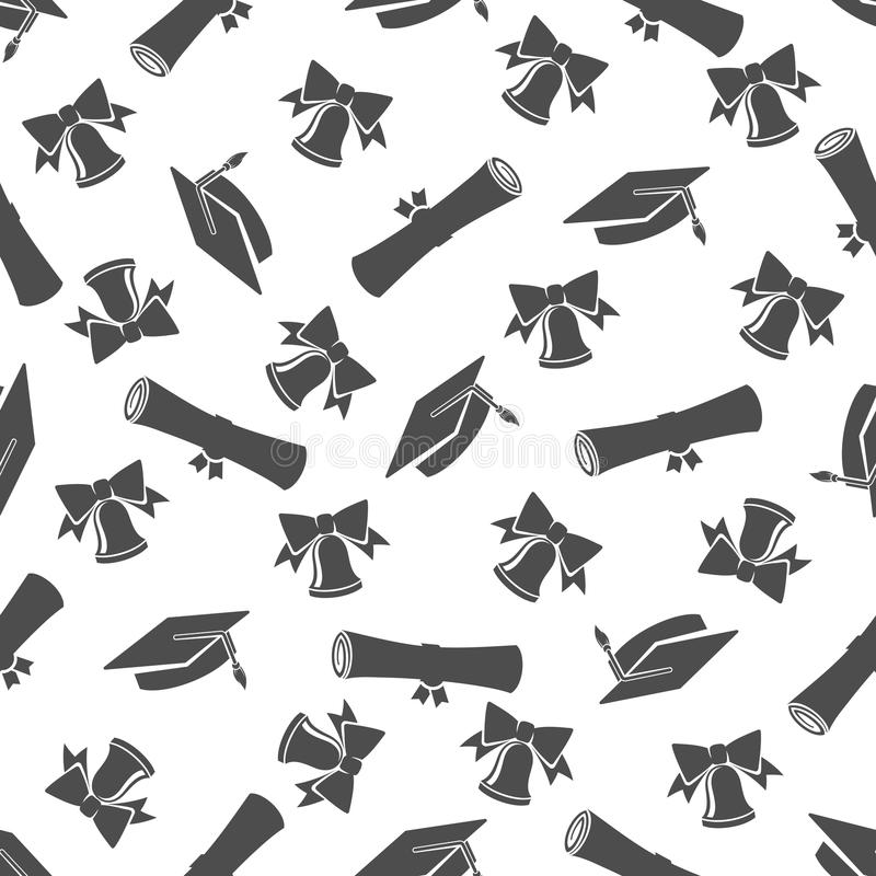 与学生盖帽的毕业生无缝的样式 皇族释放例证