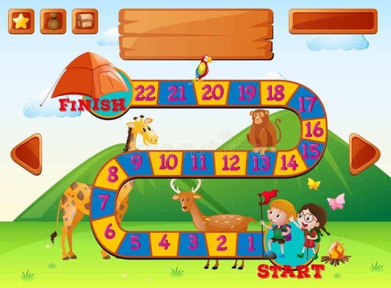 与孩子和动物的Boardgame模板 皇族释放例证