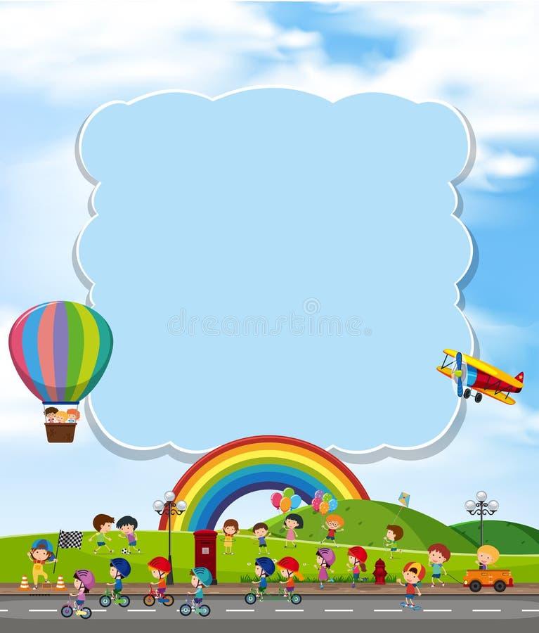与孩子和彩虹的空白的云彩 向量例证