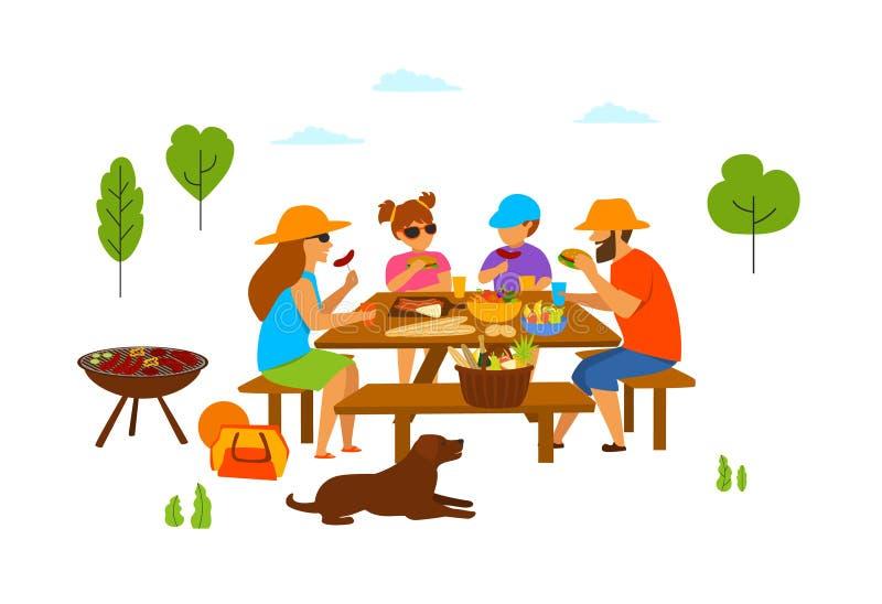 与孩子和狗的家庭在一顿野餐在公园,吃,烤,做bbq 皇族释放例证
