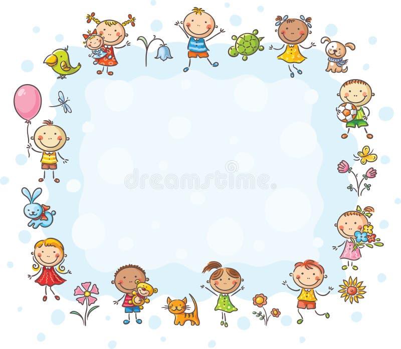 与孩子和花的长方形框架 皇族释放例证