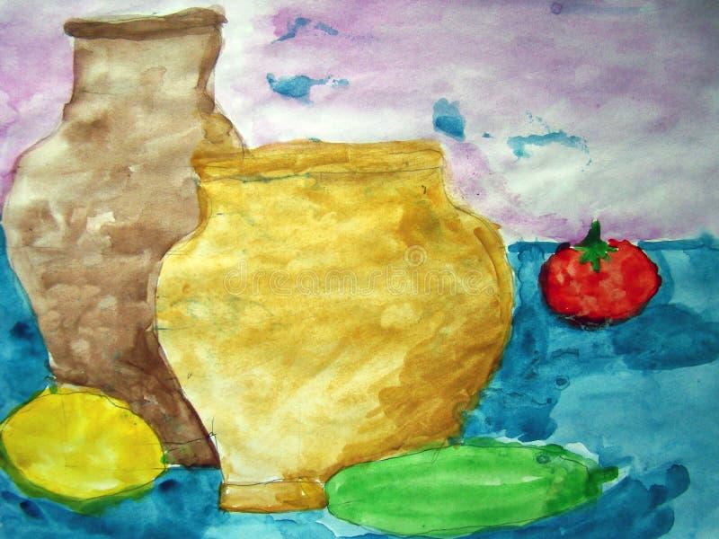 与孩子和菜的静物画做的花瓶 库存例证