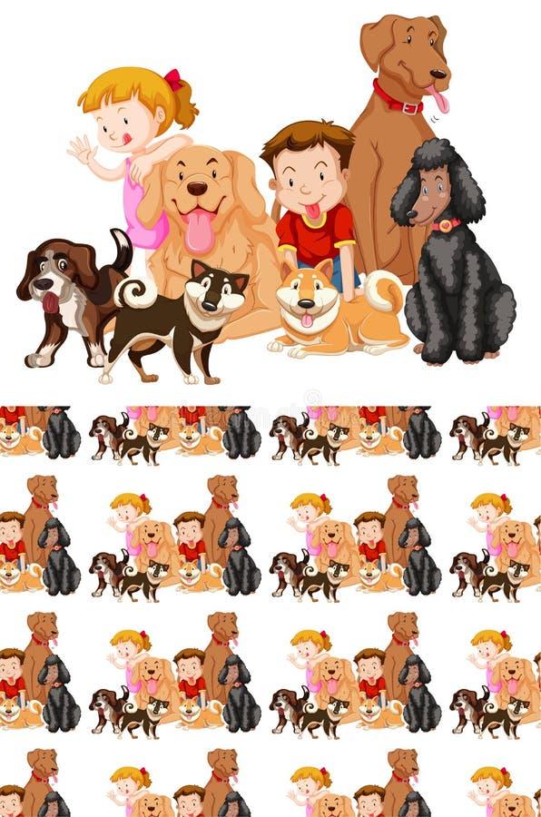 与孩子和野生动物的无缝的背景设计 向量例证