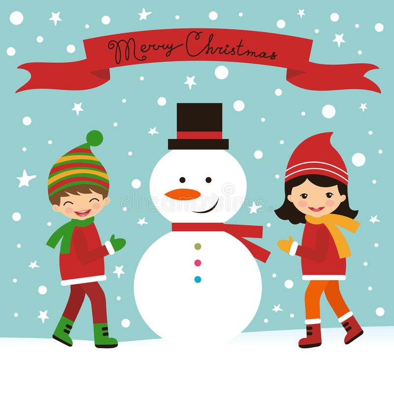 与孩子和雪人的圣诞卡 库存例证