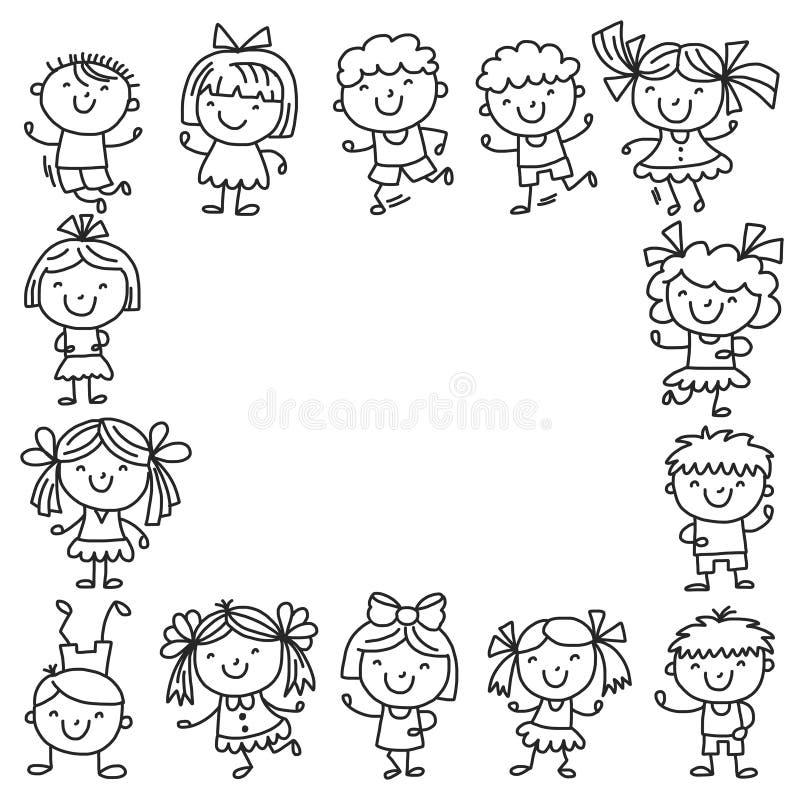 与孩子学校,幼儿园的框架 愉快的子项 创造性,想象力与孩子的乱画象 戏剧,研究,增长 库存例证