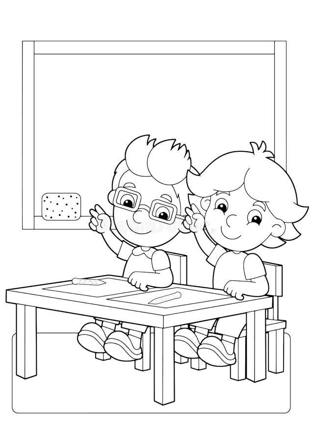 与孩子的动画片场面在握手的教室上升传染媒介着色页 库存例证