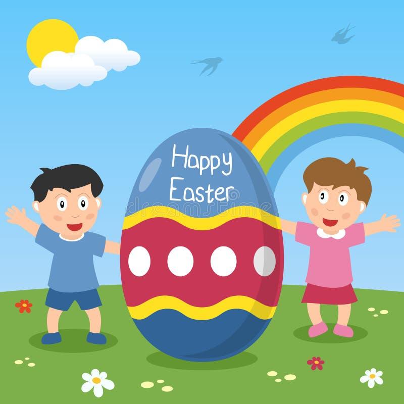 与孩子的愉快的复活节彩蛋 向量例证