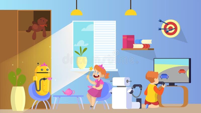 与孩子的机器人戏剧 在家帮助机器人的保姆 向量例证