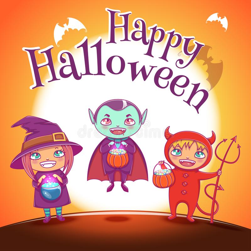 与孩子的海报在巫婆服装,吸血鬼和恶魔为愉快的万圣夜集会 在与满月的橙色背景 皇族释放例证