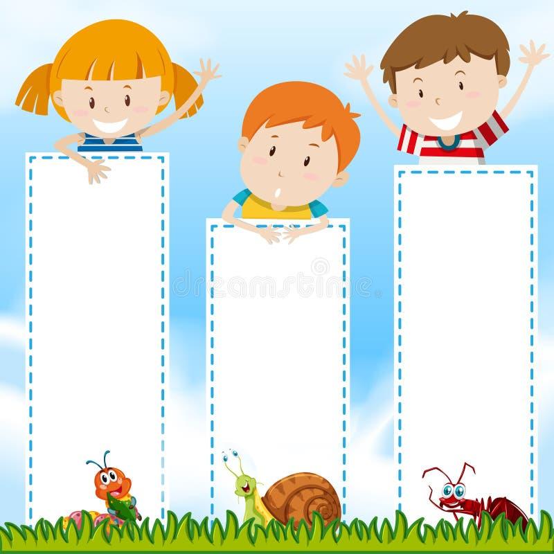 与孩子的边界模板在公园 向量例证