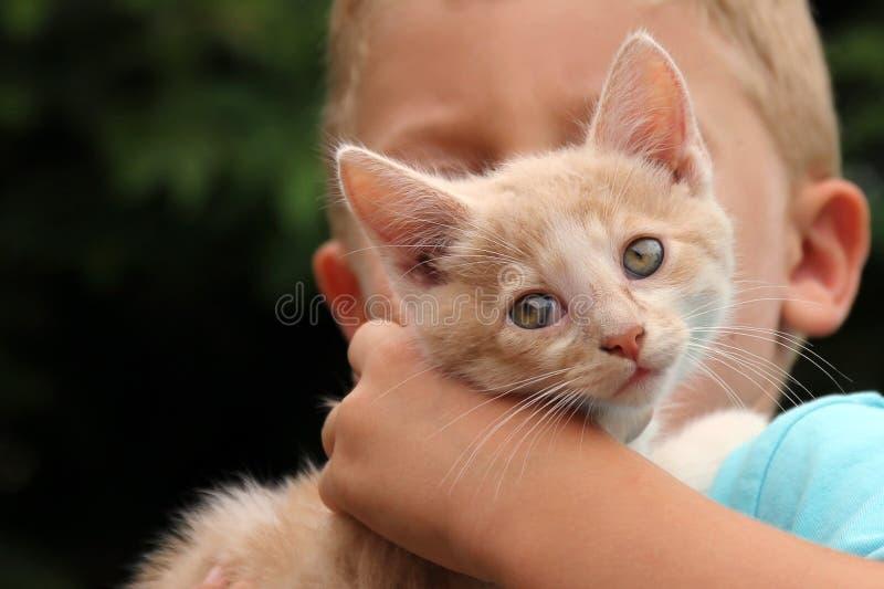 与孩子的逗人喜爱的红色猫 免版税库存照片