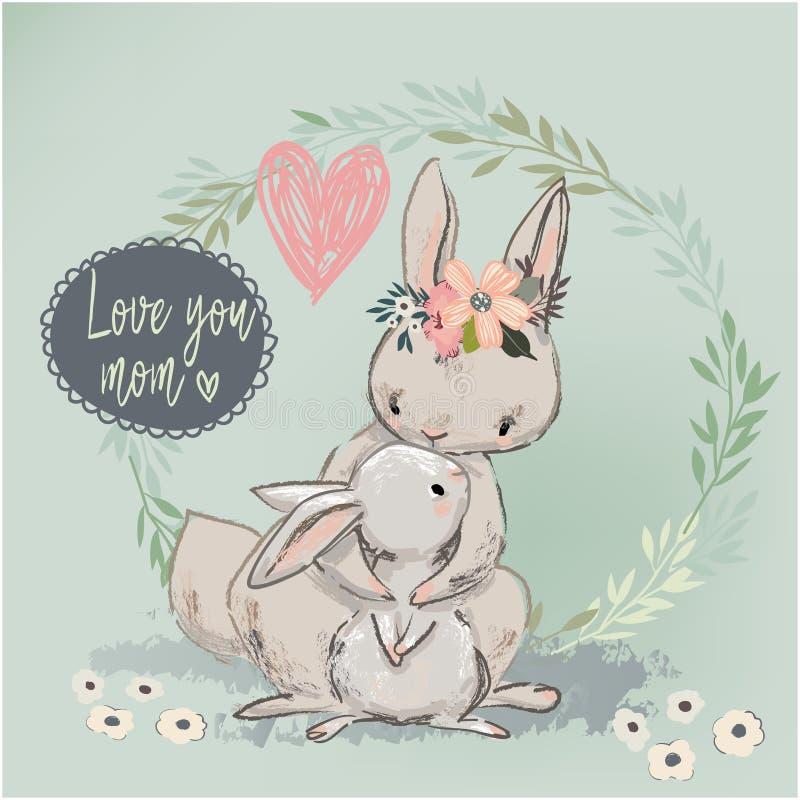与孩子的逗人喜爱的野兔 向量例证