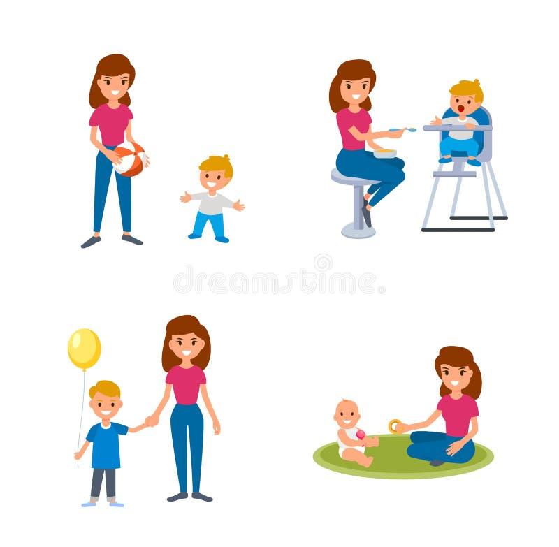 与孩子的Bebisitter成交 保姆哺养,与孩子的步行,与孩子的戏剧 一套平的例证 库存例证