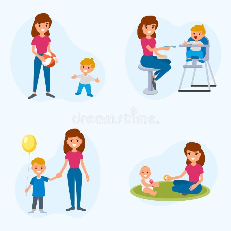与孩子的Bebisitter成交 保姆哺养,与孩子的步行,与孩子的戏剧 一套平的例证 向量例证