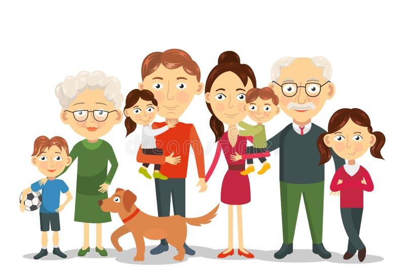 与孩子,父母,祖父母传染媒介的大和愉快的家庭画象 库存例证