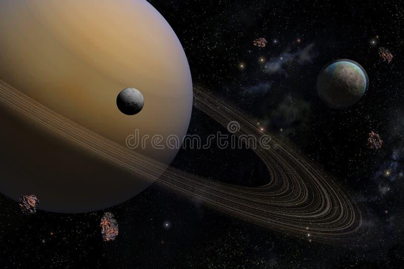 与它的卫星一起的行星土星在空间 库存例证