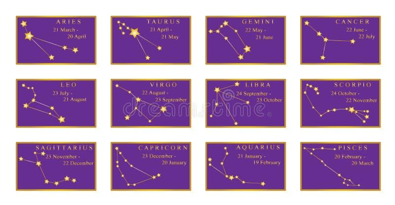 与它的数据的黄道带星座在金黄框架的几个月之前 在紫色背景的线连接的金黄星 库存例证