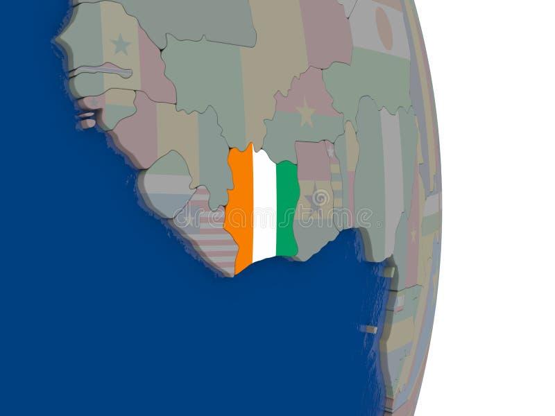 与它的旗子的象牙海岸 库存例证