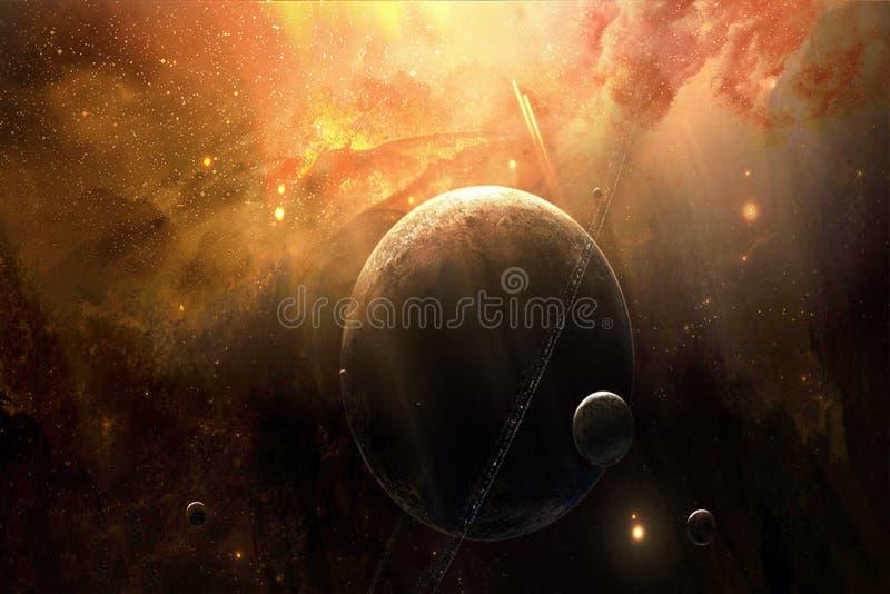 与它的艺术性的抽象行星是月亮在梦想的美好的星系背景中 皇族释放例证