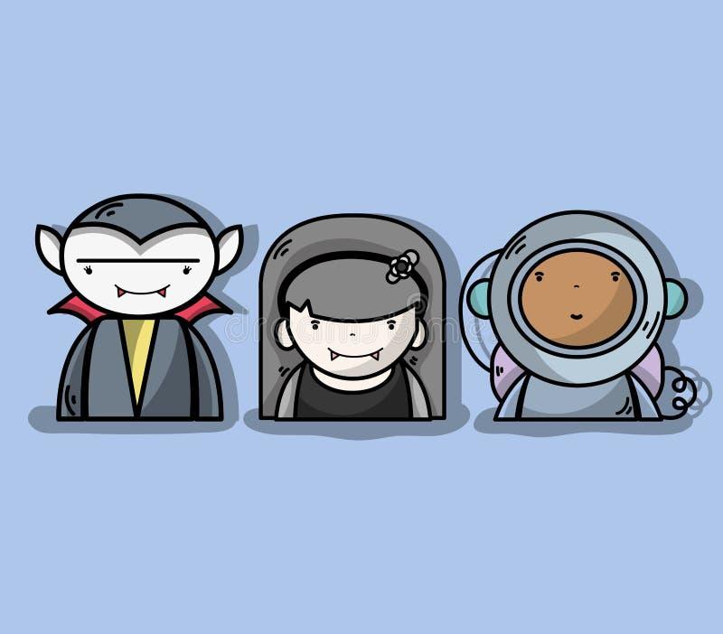 与宇航员的妇女和人vampiere 库存例证