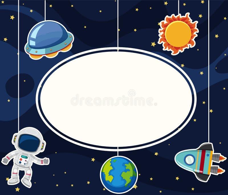 与宇航员的边界模板空间的 向量例证