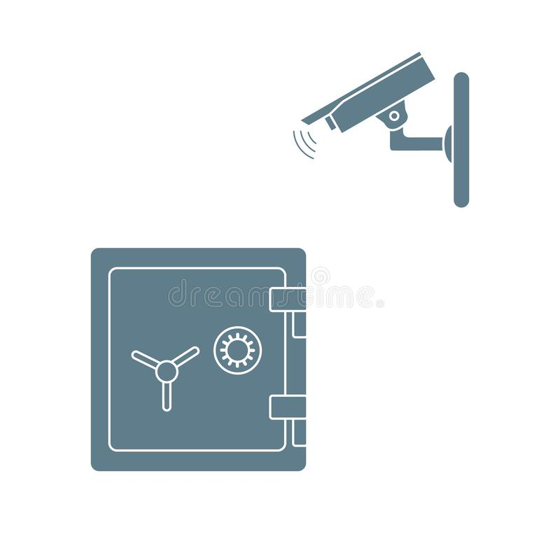 与安全监控相机和保险柜的传染媒介例证 皇族释放例证