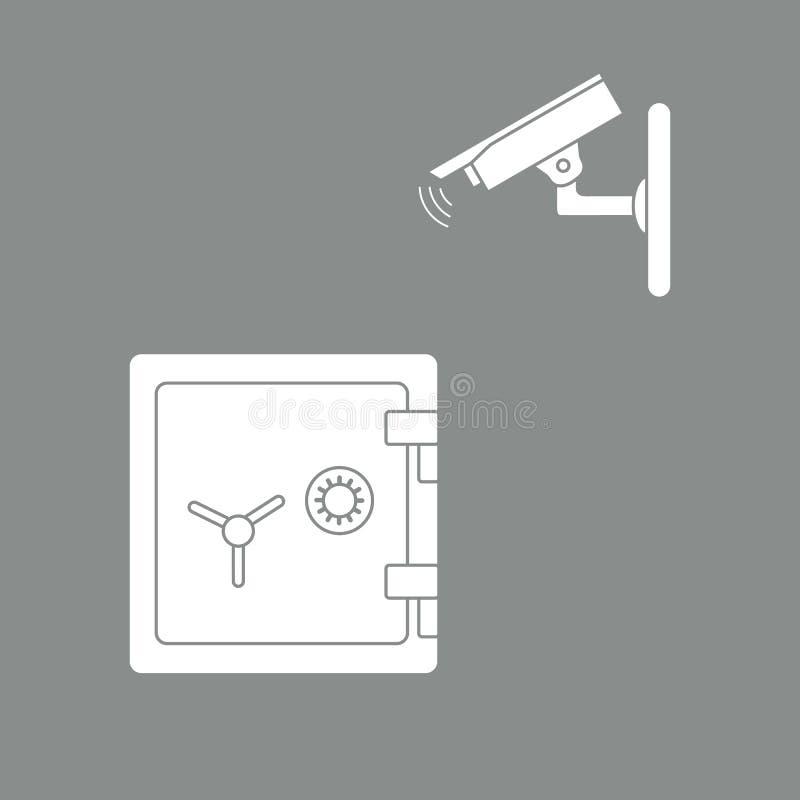 与安全监控相机和保险柜的传染媒介例证 库存例证