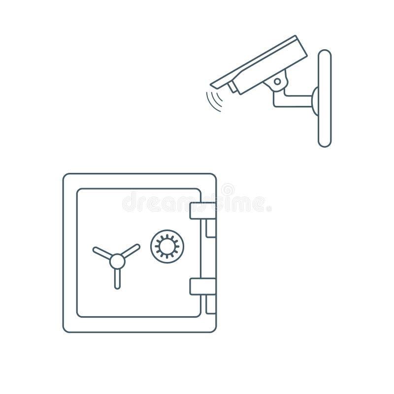 与安全监控相机和保险柜的传染媒介例证 向量例证