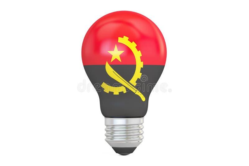 与安哥拉旗子, 3D的电灯泡翻译 库存例证