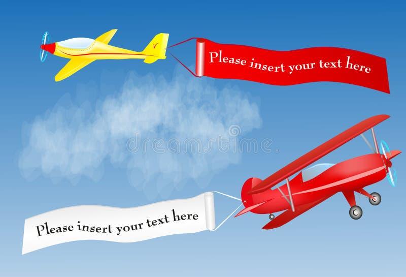 与安排的飞机横幅您的文本的 皇族释放例证