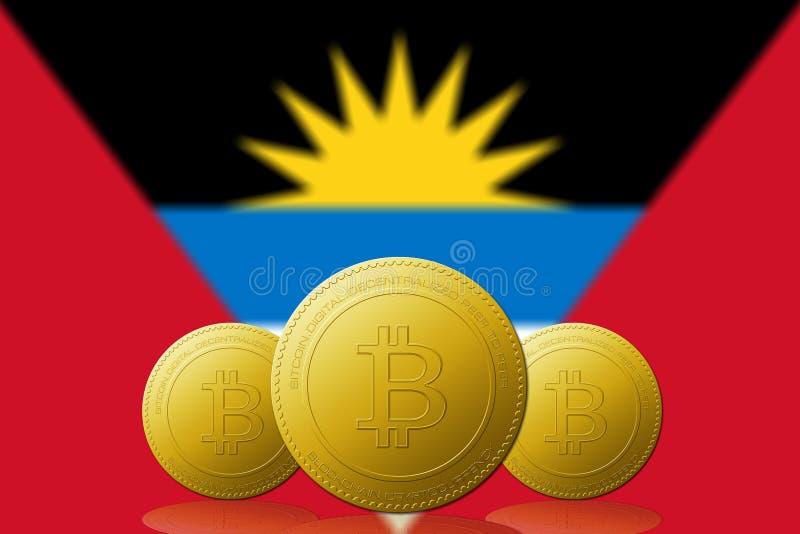 与安提瓜和巴布达旗子的三Bitcoins cryptocurrency在背景 库存例证