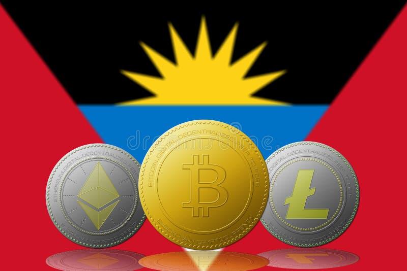 与安提瓜和巴布达旗子的三cryptocurrencies Bitcoin Ethereum和Litecoin在背景 库存例证